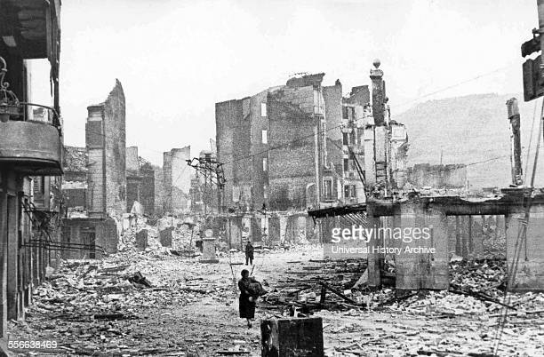 the Spanish town of Guernica after the bombing by German and Italian aircraft 1937