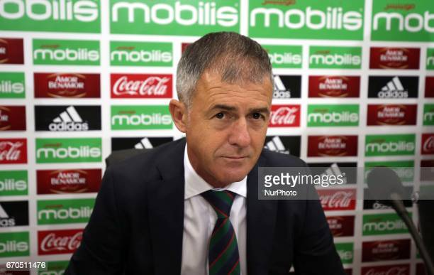Spanish coach Lucas Alcaraz attends a press conference on April 19 upon being announced as the new head coach for the Algerian national team Alcaraz...