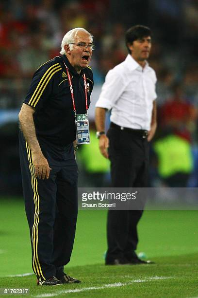Spanish coach Luis Aragones and German coach Joachim Loew during the UEFA EURO 2008 Final match between Germany and Spain at Ernst Happel Stadion on...