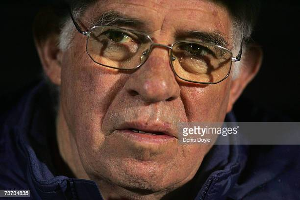 Spanish coach Luis Aragones listens to his country's national anthum before the Euro 2008 Qualifier Group F match between Spain and Iceland at the...