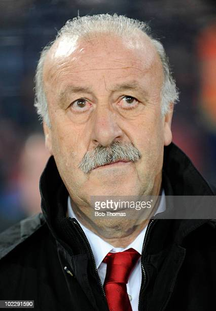 Spanish coach Vicente Del Bosque during the 2010 FIFA World Cup South Africa Group H match between Spain and Honduras at Ellis Park Stadium on June...