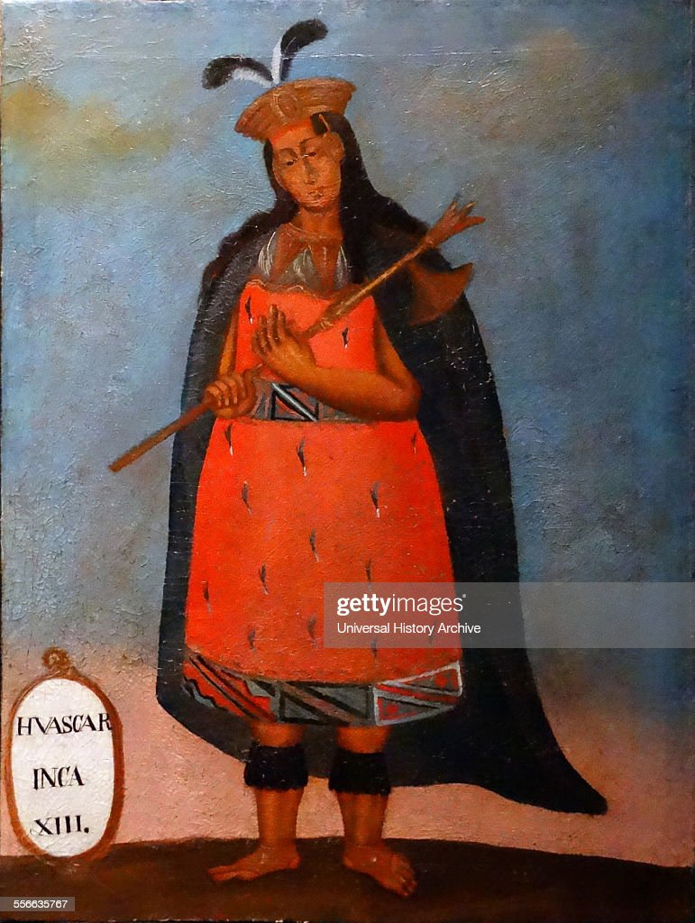 Spanish colonial portrait of the Inca King Huáscar Inca 1503–1532 Sapa Inca of the Inca Empire from 1527 to 1532 AD