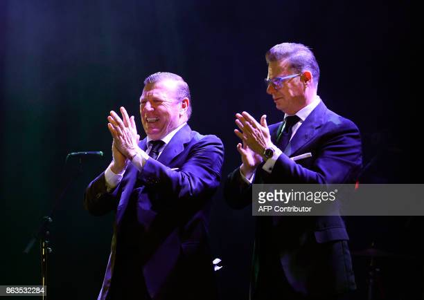 Spanish comedian duo 'Los Morancos' members Jorge Cadaval and Cesar Cadaval perform during the 'Breaking the Silence' benefit concert to help...