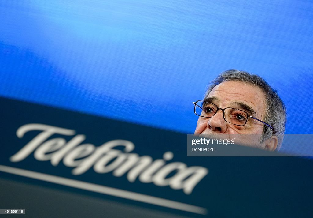 Spanish company Telefonica chairman and CEO <a gi-track='captionPersonalityLinkClicked' href=/galleries/search?phrase=Cesar+Alierta&family=editorial&specificpeople=682663 ng-click='$event.stopPropagation()'>Cesar Alierta</a> gives a press conference to announce the company's year results in Madrid on February 25, 2015. Spain's Telefonica reported today a 34.7 percent plunge in net profits to 3.0 billion euros ($3.4 billion) in 2014, citing Venezuela's economic crisis and other exceptional costs.
