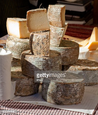 Spanish cow sheese in sunlight : Stock Photo