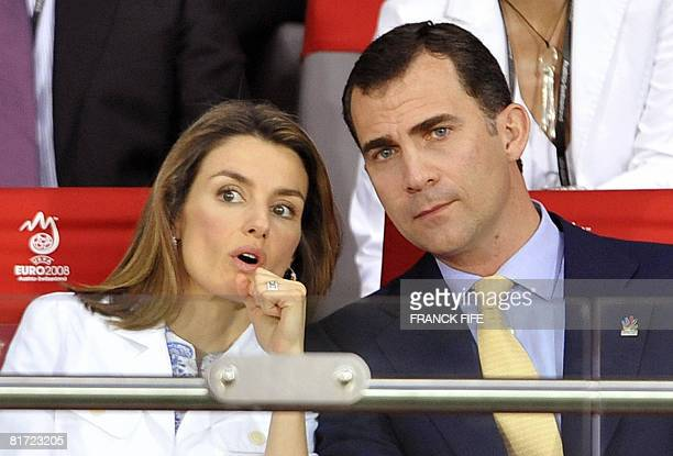 Spanish Crown Prince Felipe and his wife Princess Letizia are pictured during the Euro 2008 championships semifinal football match Russia vs Spain on...