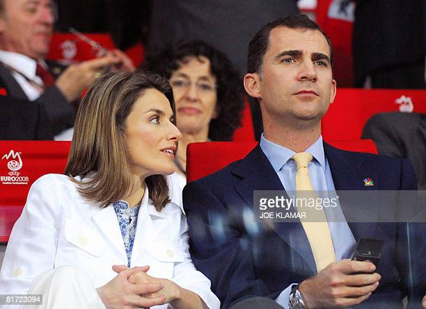 Spanish Crown Prince Felipe and his wife Princess Letizia attend the Euro 2008 championships semifinal football match Russia vs Spain on June 26 2008...