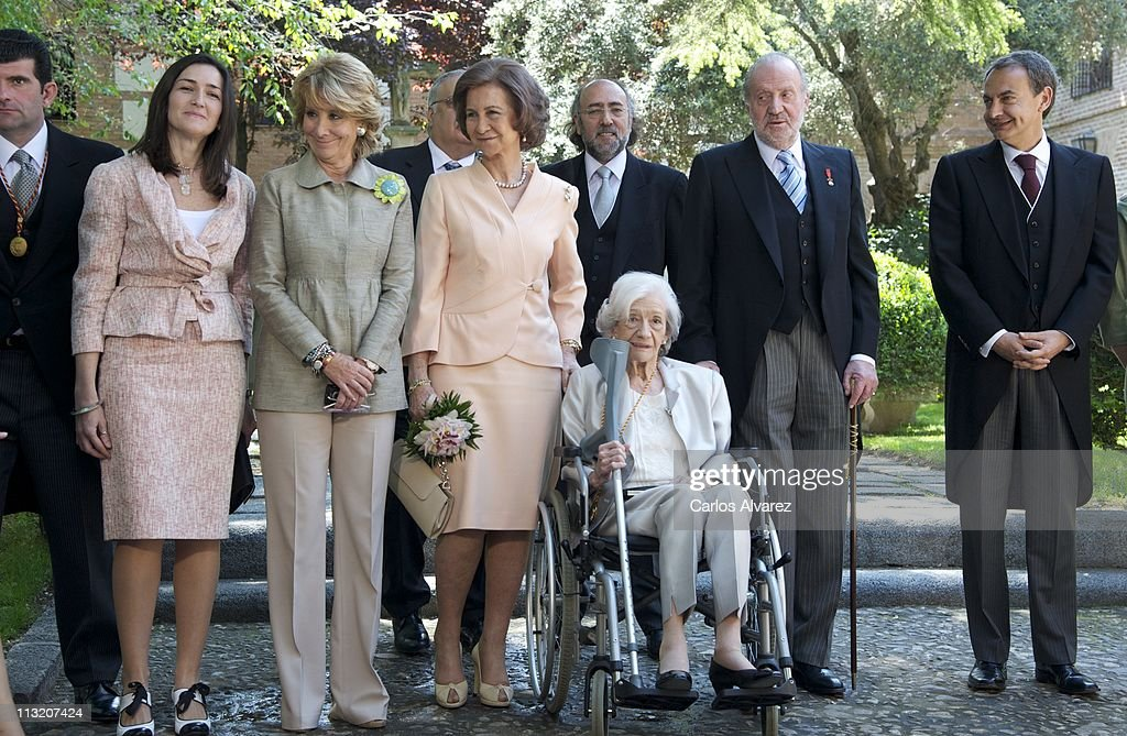 Spanish Culture Minister Angeles Gonzalez Sinde President of Madrid's regional government Esperanza Aguirre Queen Sofia of Spain Spanish writer Ana...