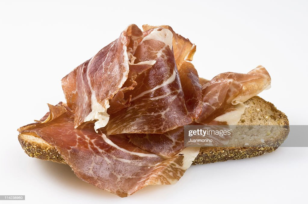 Spanish cured ham canape stock photo getty images for Types of canape bases