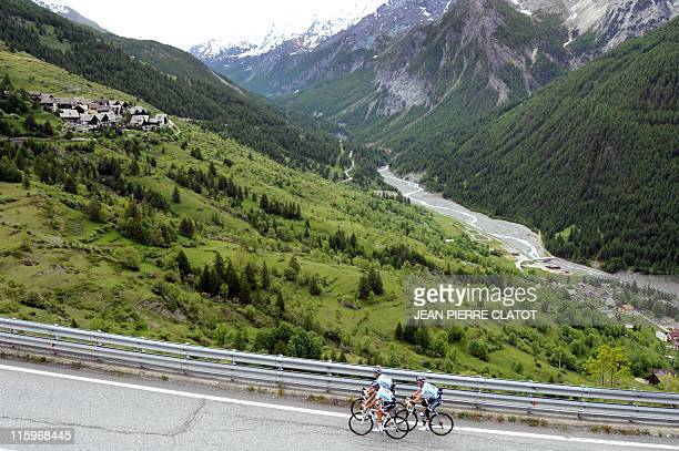 Spanish cyclist Alberto Contador competes on a hill in Sestriere to prepare for the Tour de France which will occur in the region on June 13 2011 AFP...