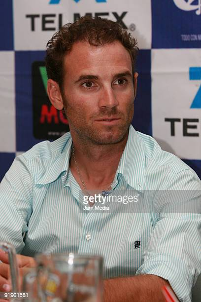 Spanish cyclist Alejandro Valverde attends a press conference before the Cycle Route Criterium Cancun Vive Mexico at Carlos 'n Charlie's Restaurant...