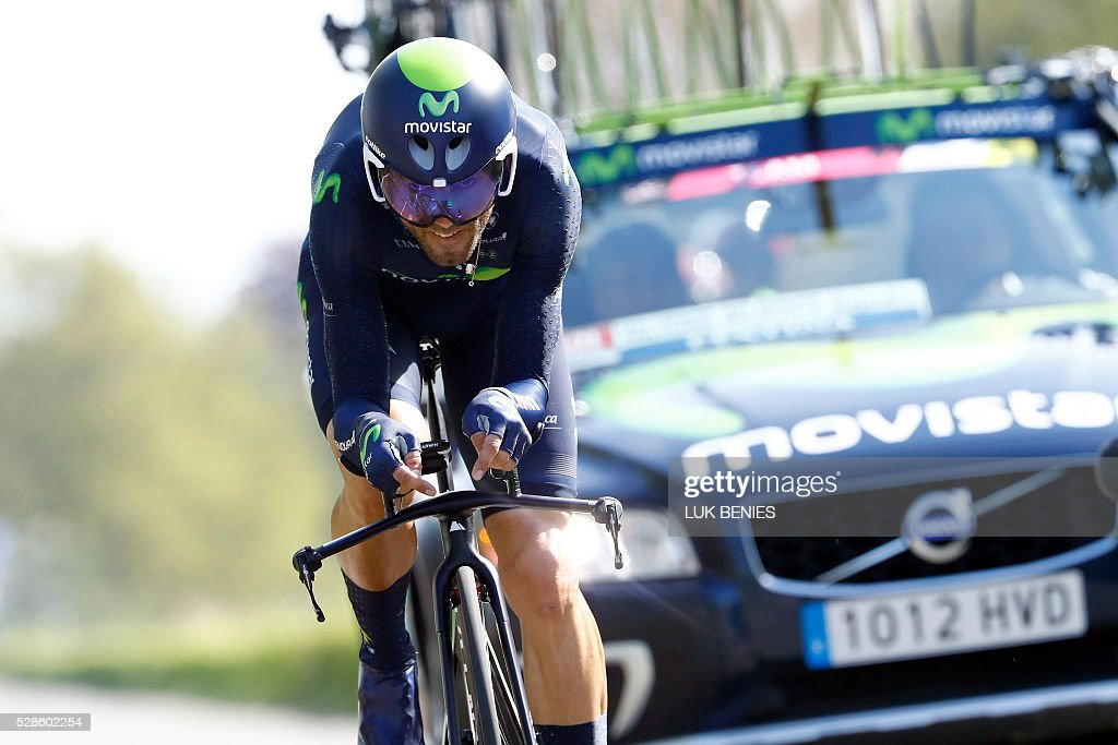 Spanish cyclist Alejandro Valverde of Movistar competes during the first stage of the Giro d'Italia 2016 at Apeldoorn, Netherlands, on May 6, 2016, an individual time trial over 9.8km through Apeldoorn. / AFP / ANP / LUK BENIES / Netherlands OUT