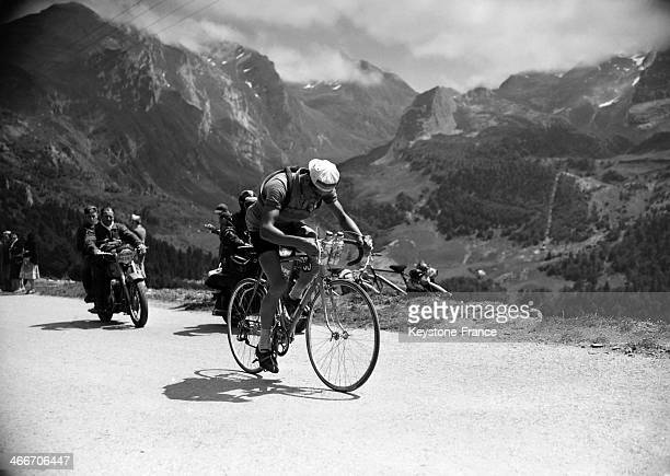 Spanish cyclist Jesus Lorono during a mountain stage in the Pyrenees between Pau and Cauterets of the 40th Tour de France in July 1953 in France