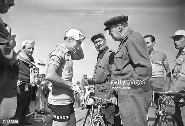 Spanish cyclist Miguel Poblet with his yellow jersey awarded for winning the first stage of the 1955 Tour de France 8th July 1955