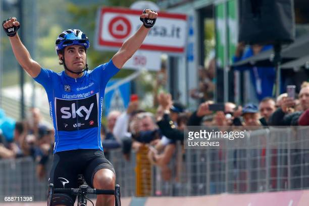 Spanish cyclist Mikel Landa of Sky team celebrates as he crosses the finish line winning the 19th stage of 100th Giro d'Italia Tour of Italy from San...