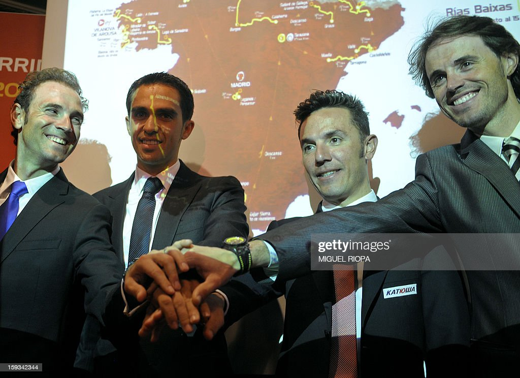 Spanish cyclists, Alejandro Valverde, Vuelta 2012's winner Alberto Contador, Joaquin 'Purito' Rodriguez and Samuel Sanchez pose during the presentation of the 68th Vuelta cycling tour of Spain in Vigo, on January 13, 2013.