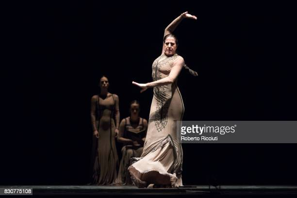 Spanish dancer and coreographer Maria Pages performs on stage at Edinburgh Playhouse during a photocall for the flamenco show 'Yo Carmen' during the...
