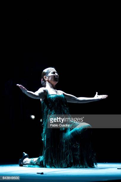 Spanish dancer Sara Baras performs on stage to present her show 'Voces' at Nuevo Apolo theater on February 22 2017 in Madrid Spain