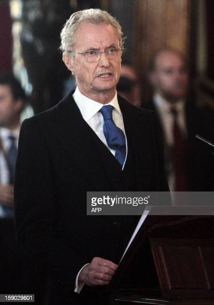 Spanish Defence Minister Pedro Morenes delivers a speech during the Pascua Militar ceremony at the Royal Palace in Madrid on January 6 2013 AFP PHOTO...