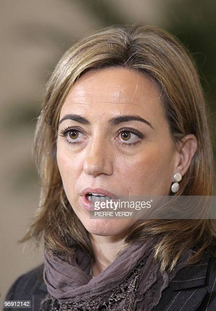 Spanish Defense Minister Carme Chacon Piqueras speaks during a joint press conference with French Defense Minister Herve Morin on January 20 2010 in...