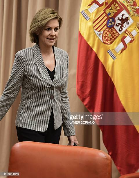 Spanish Defense Minister Maria Dolores de Cospedal arrives before giving explanations pertaining to the 2003 Yakovlev 42 air disaster during a...