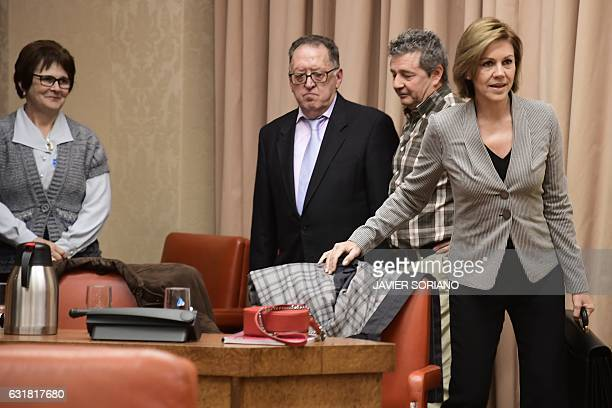 Spanish Defense Minister Maria Dolores de Cospedal arrives to give explanations pertaining to the 2003 Yakovlev 42 air disaster during a session at...