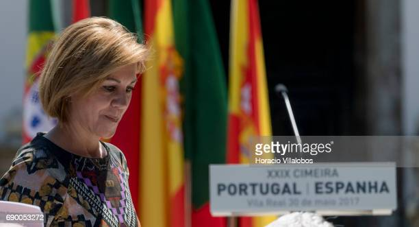 Spanish Defense Minister Maria Dolores de Cospedal in Casa de Mateus at end of the second day of the Iberian Summit on May 30 2017 in Vila Real...