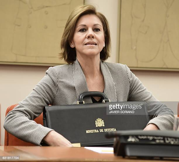 Spanish Defense Minister Maria Dolores de Cospedal sits to give explanations pertaining to the 2003 Yakovlev 42 air disaster during a session at the...