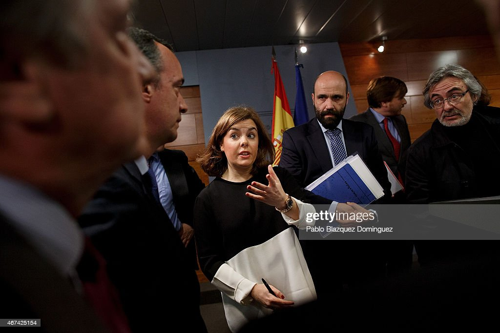 Spanish Deputy Prime Minister and Minister for the Presidency Soraya Saenz de Santamaria speaks during a press conference after a meeting in a situation room at Moncloa Palace on March 24, 2015 in Madrid, Spain. Germanwings flight 4U9525 from Barcelona to Duesseldorf with 150 people on board has crashed in the French Alps.