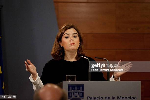 Spanish Deputy Prime Minister and Minister for the Presidency Soraya Saenz de Santamaria speaks during a press conference after a meeting in a...