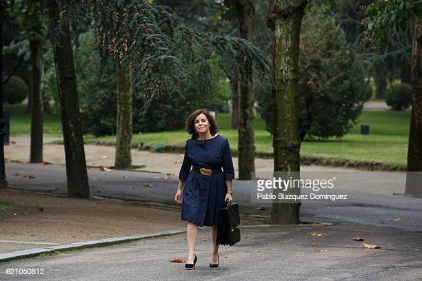 Spanish Deputy Prime Minister and Minister of the Regions Soraya Saenz de Santamaria arrives to the prensentation of Rajoy's new Government at...