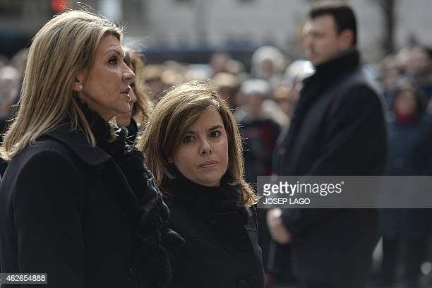 Spanish Deputy Prime Minister and Spokeswoman Soraya Saenz de Santamaria arrives for the funeral ceremony for the late president of the Spanish...