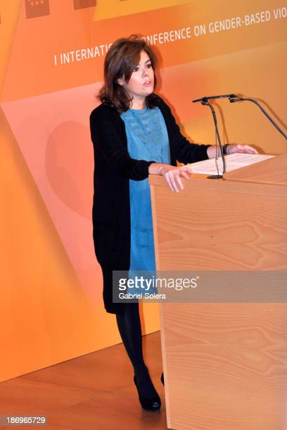 Spanish Deputy Prime Minister Soraya Saenz de Santamaria attends International Congress Against Gender Violence 'New Forms of Violence' Inauguration...