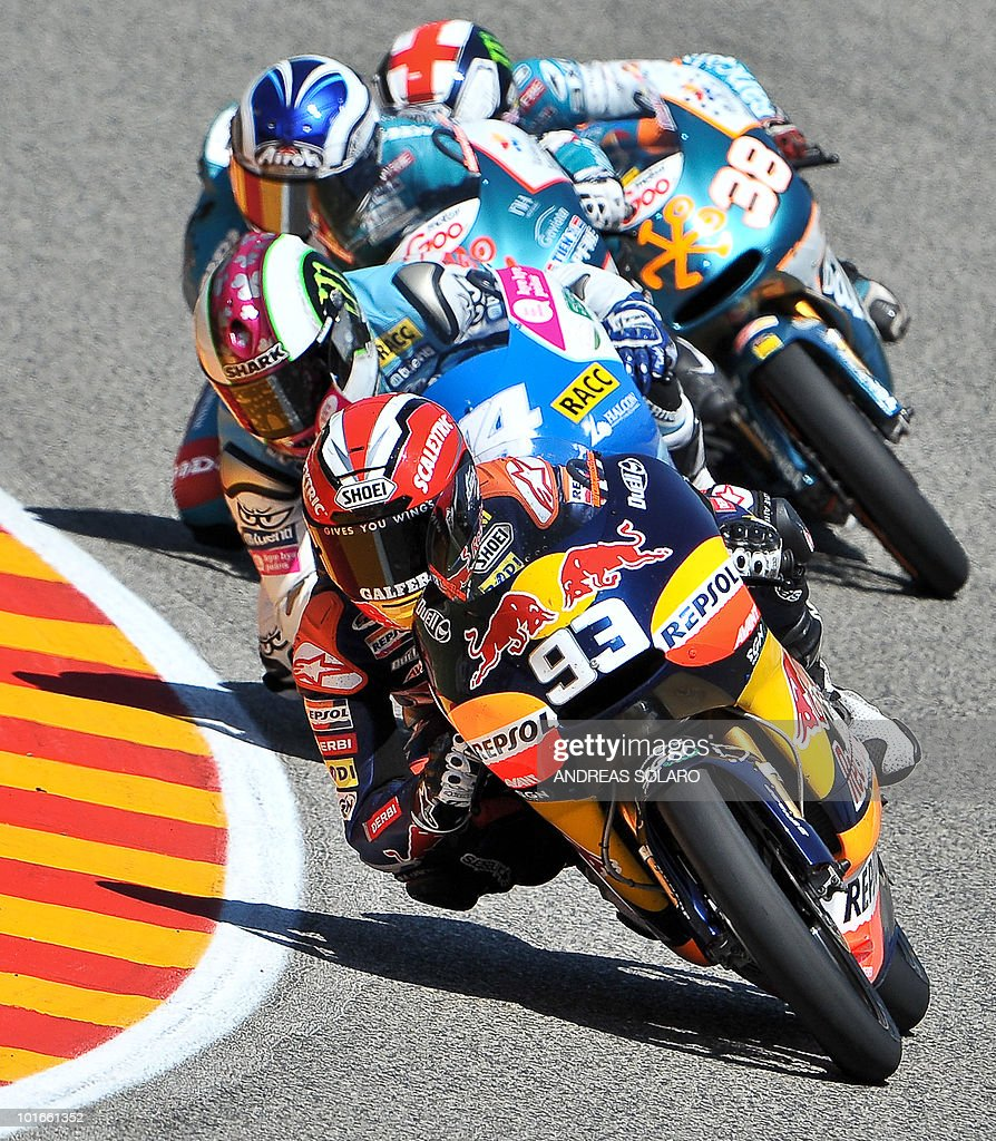 Spanish Derbi rider Marc Marquez (C) rides during the Moto 125 cc race of the Italian Grand Prix in Mugello on June 6, 2010. Marc Marquez of Red Bull AJo Motorsport Team finished first ahead of Nico Terol of Bancaja Aspar Team and Pol Espargaro of Tuenti Racing Team of Spain.