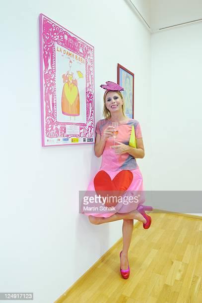 Spanish designer Agatha Ruiz de La Prada attends her exhibition opening prior to MQ Vienna Fashion Week 11 at Instituto Cervantes on September 12...