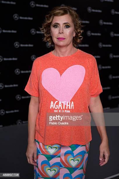 Spanish designer Agatha Ruiz de la Prada is seen attending the MercedesBenz Fashion Week Madrid Spring/Summer 2016 at Ifema on September 18 2015 in...