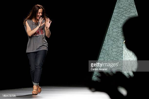 Spanish Designer Ana Locking walks the runway at the end of the Ana Locking show during Mercedes Benz Fashion Week Madrid Spring/Summer 2014 at Ifema...