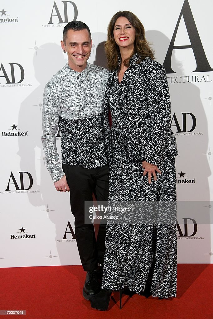 Spanish designer David Delfin (L) and Ana Garcia Sineriz attend the AD Awards 2014 at the Santa Coloma Palace on February 27, 2014 in Madrid, Spain.