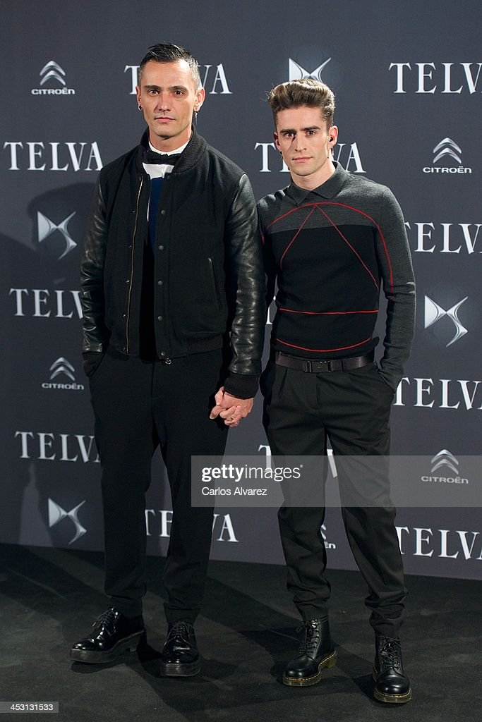 Spanish designer David Delfin (L) and Pelayo Diaz Zapico (R) attend the Telva Magazine Fashion Awards 2013 at the Palacio de Cibeles on December 2, 2013 in Madrid, Spain.