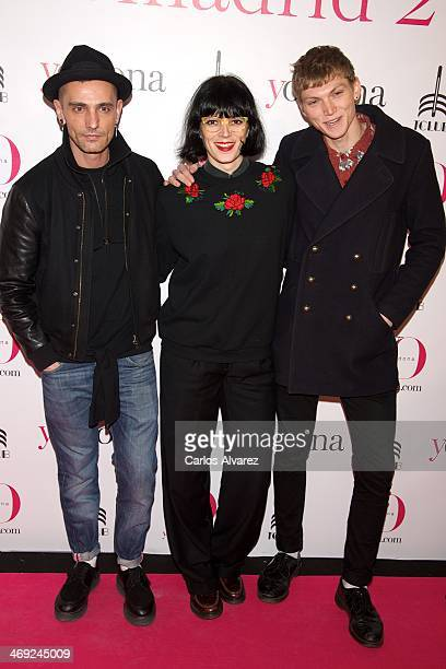 Spanish designer David Delfin Bimba Bose and Charlie Centa attend the 'Yo Dona' magazine party at the Barcelo Theater on February 13 2014 in Madrid...