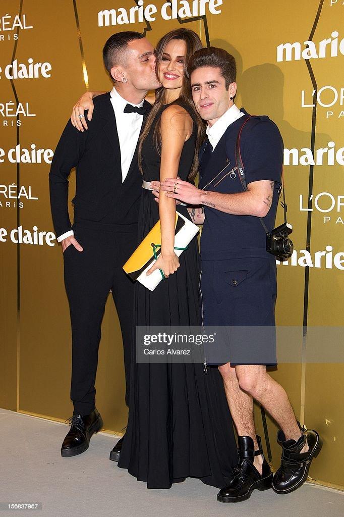 Spanish designer David Delfin, model Ariadne Artiles and Pelayo Diaz Zapico attend Marie Claire Prix de la Moda Awards 2012 at the French Embassy on November 22, 2012 in Madrid, Spain.