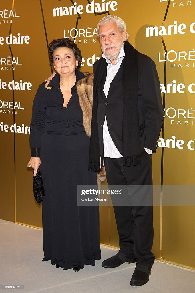Spanish designer Elena Benarroch (L) and husband attends Marie Claire Prix de la Moda Awards 2012 at the French Embassy on November 22, 2012 in Madrid, Spain.
