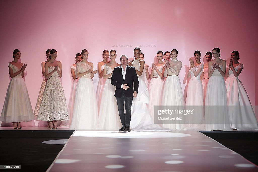 Spanish designer Hannibal Laguna walks the runway during the Hannibal Laguna fashion show as part of 'Barcelona Bridal Week 2014' on May 8, 2014 in Barcelona, Spain.