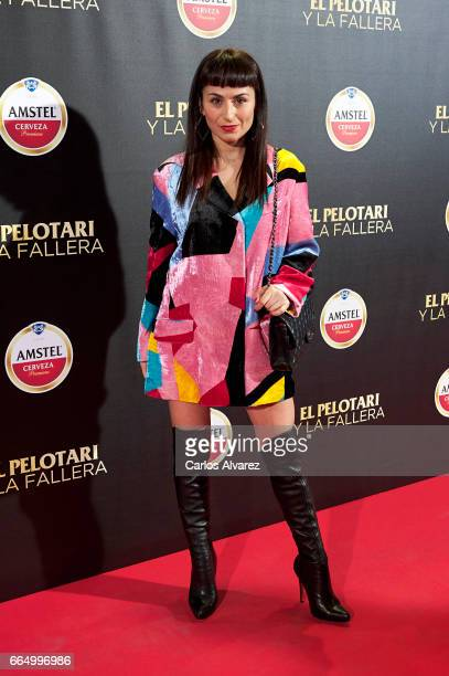 Spanish designer Maria Escote attends 'El Pelotari Y La Fallera' premiere at the Callao cinema on April 5 2017 in Madrid Spain