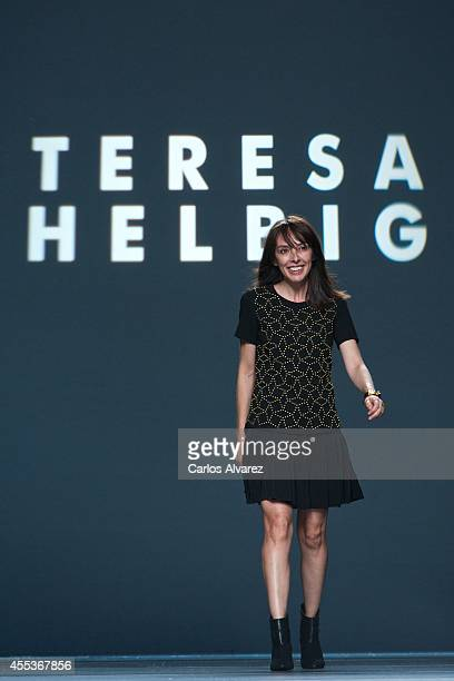 Spanish designer Teresa Helbig walks the runway at Teresa Helbig fashion show during Mercedes Benz Fashion Week Madrid Spring/Summer 2015 at Ifema on...