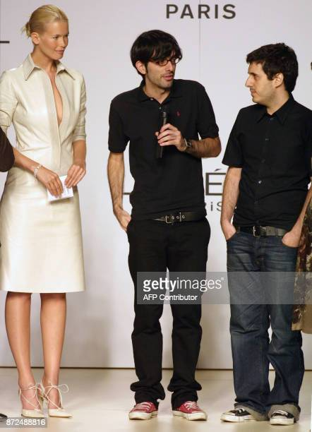 Spanish designers Spastor are nominated by Claudia Schiffer and 'L'OrealParis' for the best 'springsummer 2002' collection show during the 'Pasarela...
