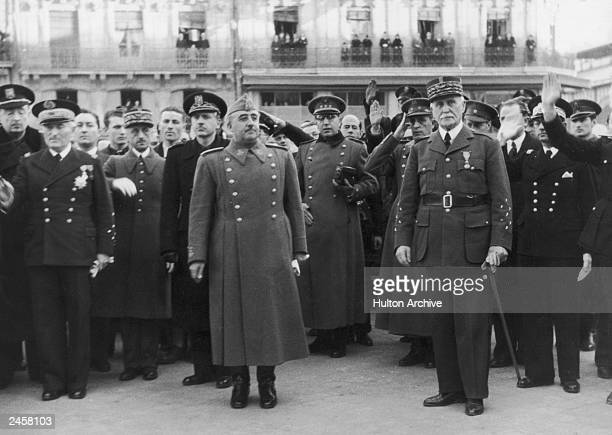 Spanish dictator General Francisco Franco during a visit to Vichy French leader Marshal HenriPhilippe Petain circa 1942 Behind Franco is his...