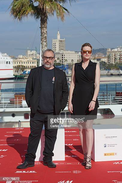 Spanish director Alex de la Iglesia and Spanish actress Carolina Bang attend 'Los Heroes del Mal' photocall dutring the 18th Malaga Film Festival on...