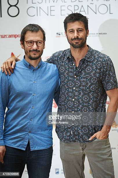 Spanish director David Serrano and Spanish actor Hugo Silva attend the '5 Minutos de Cine' photocall during the 18th Malaga Film Festival on April 24...