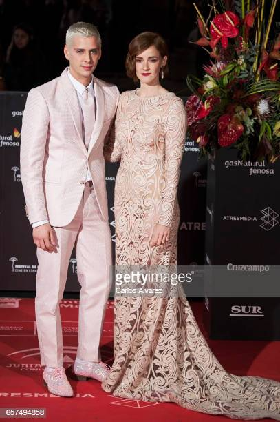 Spanish director Eduardo Casanova and actress Ana Polvorosa attend the 'Pieles' premiere on day 8 of the 20th Malaga Film Festival at the Cervantes...